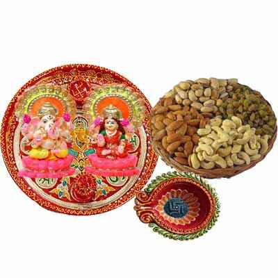 Diwali Pooja Thali with Dry Fruits