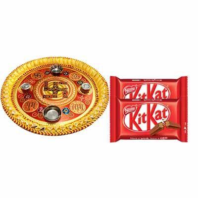 Diwali Pooja Thali with Kitkat Chocolates