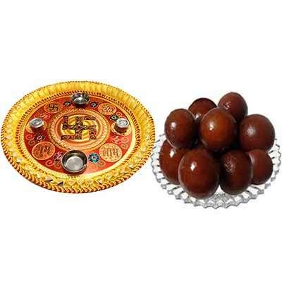 Thali with Gulab Jamun Sweet