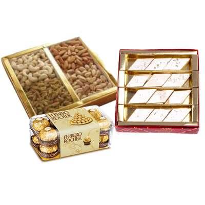 Mixed Dry Fruits with Kaju Katli & Ferrero Rocher
