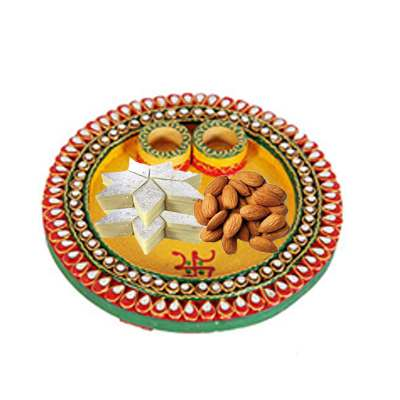 Diwali Thali with Almonds & Kaju Katli