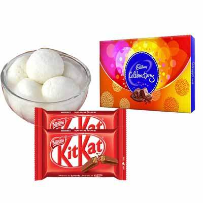 Rasgulla with Celebration & Kitkat