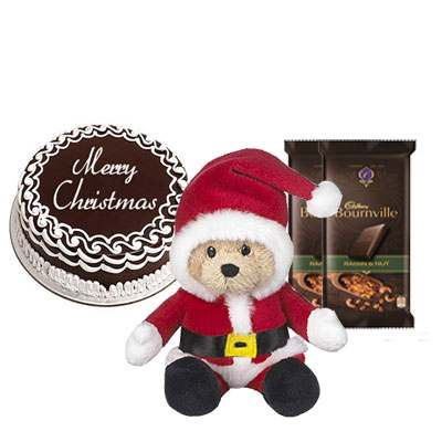 Christmas Cake with Santa Claus & Bournville Chocolates