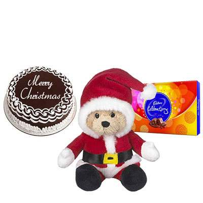 Christmas Cake with Santa Claus & Cadbury Celebration