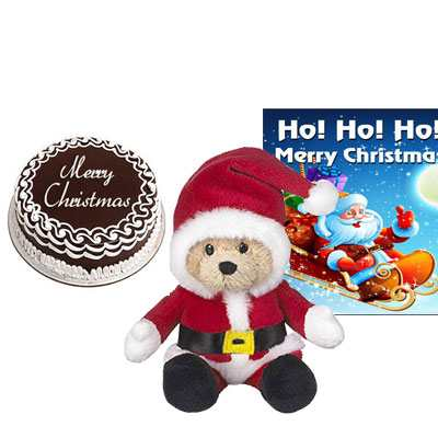 Christmas Cake with Santa Claus & Greeting Card