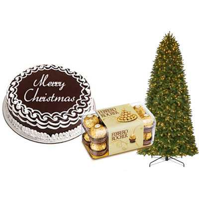Christmas Chocolate Cake with Christmas Tree & Ferrero Rocher