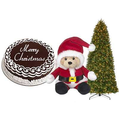 Christmas Chocolate Cake with Christmas Tree & Santa Claus