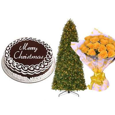 Christmas Chocolate Cake with Christmas Tree & Yellow Rose Bouquet