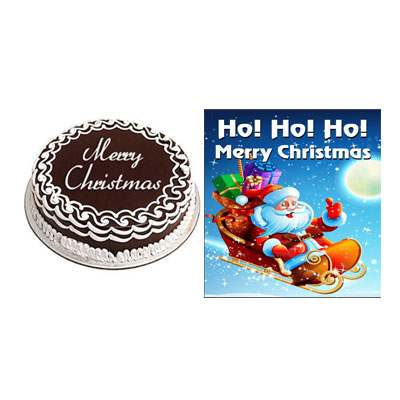 Christmas Chocolate Cake with Greeting Card