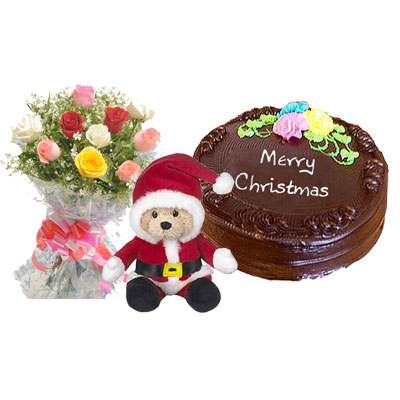 Santa Claus with Mix Roses Bouquet & Chocolate Cake