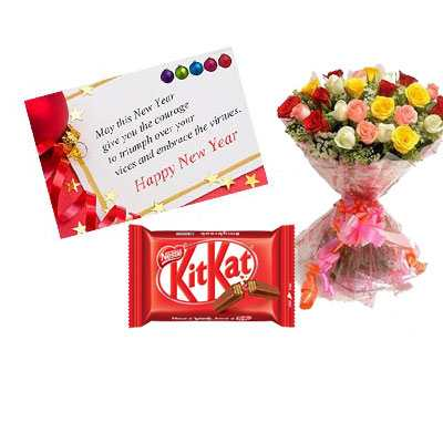 New Year Card with Mix Roses & Kitkat