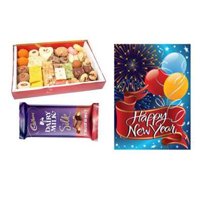 Mixed Sweets with New Year Card & Silk