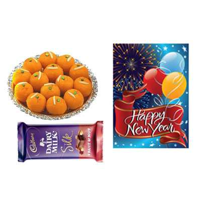 Laddu with New Year Card & Silk