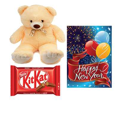 Kitkat with Card & Teddy Bear