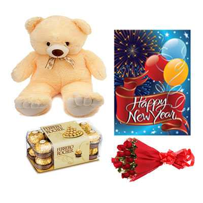 Ferrero Rocher, Roses Bouquet, Card & Teddy Bear