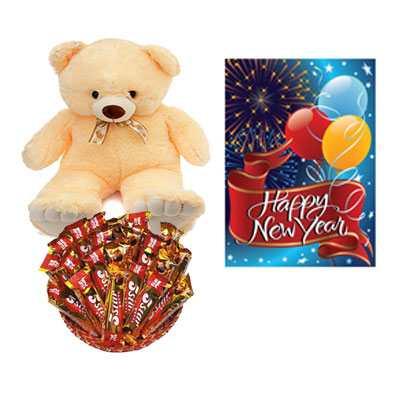 5 Star Chocolate Hamper, Card & Teddy Bear
