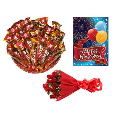 5 Star Chocolate Hamper, Card & Roses