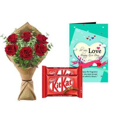Rose Bouquet, Kitkat & Rose Day Greeting Card
