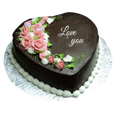 I love You Chocolate Heart Shape Cake