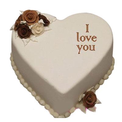 I love You Vanilla Heart Shape Cake