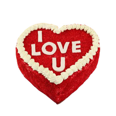 Love U Valentine Red Velvet Heart Cake
