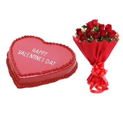 Happy Valentines Day Strawberry Cake & Bouquet