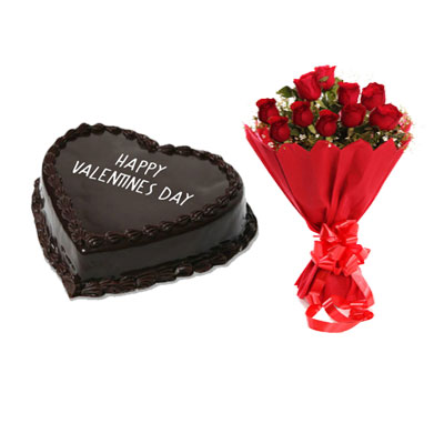 Valentine Chocolate Heart Shape Cake & Bouquet