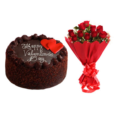 Valentine Day Chocolate Cake & Bouquet