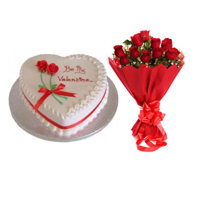 Valentine Day Strawberry Heart Shape Cake & Bouquet