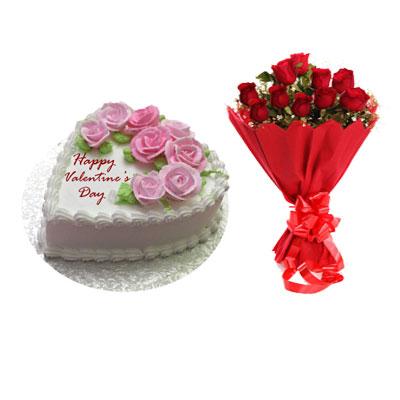 Valentines Flowery Vanilla Cake & Bouquet