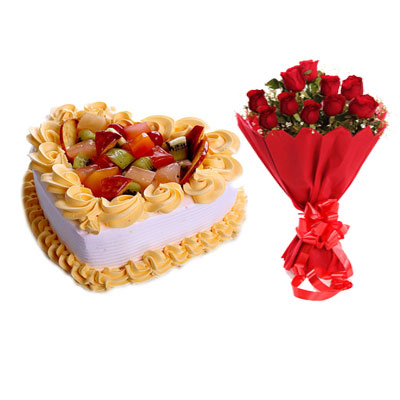 Fruit Heart Shape Cake & Bouquet