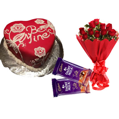 Be Mine Valentine Chocolate Cake, Bouquet & Silk