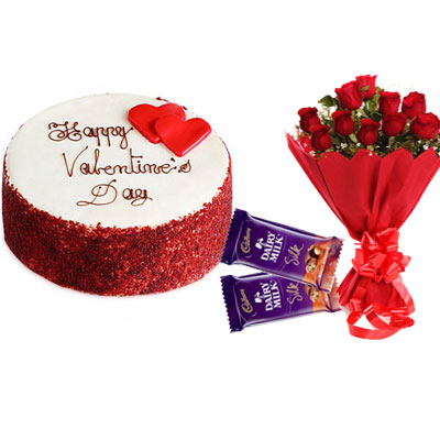 Happy Valentine Red Velvet Cake, Bouquet & Silk