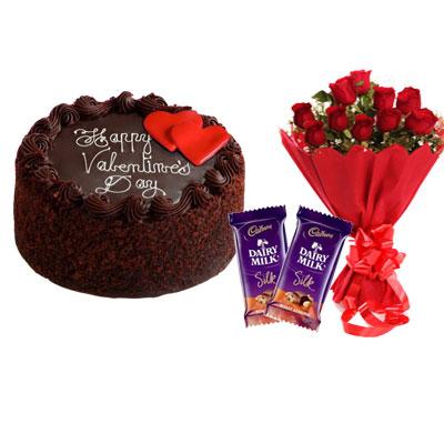 Valentine Day Chocolate Cake, Bouquet & Silk