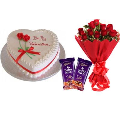 Valentine Day Strawberry Heart Shape Cake, Bouquet & Silk
