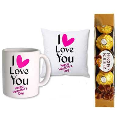 I Love You Mug & Cushion & Ferrero