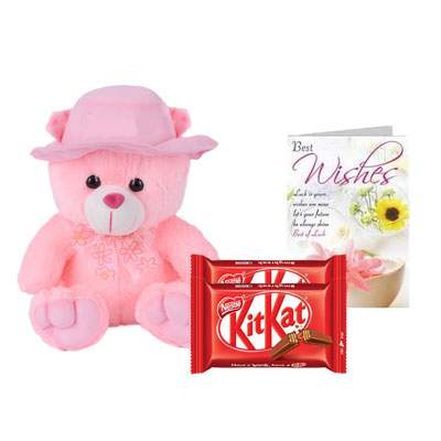 16 Inch Teddy with Kitkat & Card