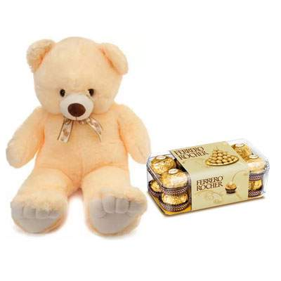 24 Inch Teddy with Ferrero Rocher