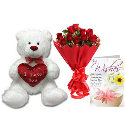30 Inch Teddy with Bouquet & Card