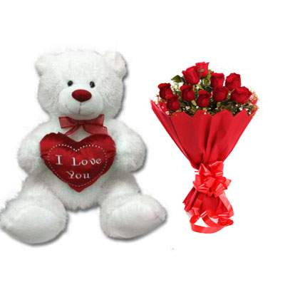 30 Inch Teddy Bear with Bouquet