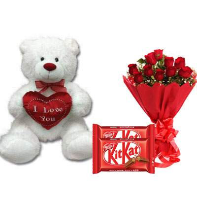 30 Inch Teddy with Kitkat & Bouquet