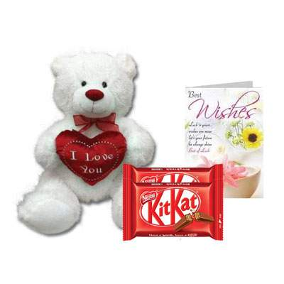 30 Inch Teddy with Kitkat & Card