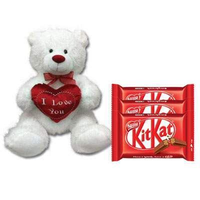 30 Inch Teddy with Kitkat