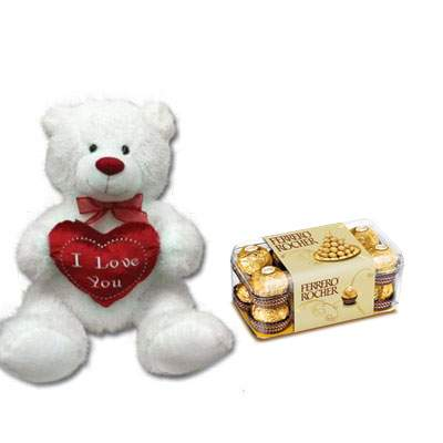 30 Inch Teddy with Ferrero Rocher