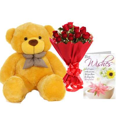 36 Inch Teddy with Bouquet & Card