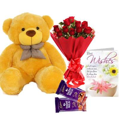 36 Inch Teddy with Bouquet, Silk & Card
