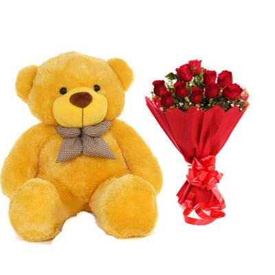 36 Inch Teddy with Bouquet