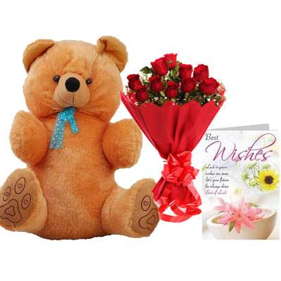 40 Inch Teddy with Bouquet & Card