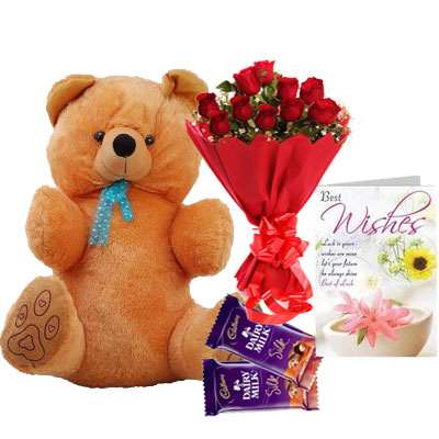 40 Inch Teddy with Bouquet, Silk & Card