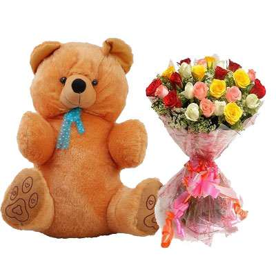 40 Inch Teddy with Mix Bouquet